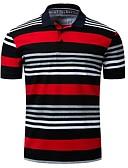 ราคาถูก เสื้อโปโลสำหรับผู้ชาย-สำหรับผู้ชาย Polo คอเสื้อเชิ้ต เพรียวบาง ลายแถบ ทับทิม