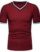 ราคาถูก เสื้อยืดและเสื้อกล้ามผู้ชาย-สำหรับผู้ชาย ขนาดของยุโรป / อเมริกา เสื้อเชิร์ต ฝ้าย คอวี เพรียวบาง สีพื้น สีน้ำเงินกรมท่า