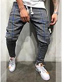 ราคาถูก กางเกงผู้ชาย-สำหรับผู้ชาย Sporty / ซึ่งทำงานอยู่ / พื้นฐาน ฮาเร็ม / กางเกงวอร์ม กางเกง - ลายสก๊อต / ลายตาราง คลาสสิค สีน้ำเงิน ทับทิม สีเหลือง XL XXL XXXL / สายผูก