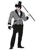 povoljno Oprema za MacBook-Mađioničar Cosplay Nošnje Povorka maski Odrasli Muška Outfits Halloween Halloween Karneval Maškare Festival / Praznik Terilen Crvena Muška Karneval kostime Karirano / veliki kockasti