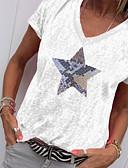 Χαμηλού Κόστους Πουκάμισο-Γυναικεία T-shirt Γεωμετρικό Λαιμόκοψη V Στάμπα Πράσινο του τριφυλλιού