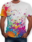 billige T-skjorter og singleter til herrer-Rund hals T-skjorte Herre - Regnbue, Trykt mønster Hvit