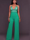 ราคาถูก จั๊มสูทและเสื้อคลุมสำหรับผู้หญิง-สำหรับผู้หญิง ใบไม้สีเขียวที่มีสามแฉก ขากว้าง ชุด Jumpsuits Onesie, สีพื้น S M L