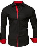 baratos Camisas Masculinas-Homens Tamanhos Grandes Camisa Social Patchwork, Sólido / Estampa Colorida Algodão Colarinho Clássico Cinzento Escuro