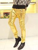 ราคาถูก เสื้อยืดและเสื้อกล้ามผู้ชาย-สำหรับผู้ชาย พื้นฐาน กางเกง Chinos กางเกง - สีพื้น เอวต่ำ สีดำ สีทอง สีเงิน M L XL
