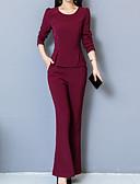 ราคาถูก จั๊มสูทและเสื้อคลุมสำหรับผู้หญิง-สำหรับผู้หญิง พื้นฐาน ชุด - สีพื้น กางเกง