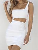 Χαμηλού Κόστους Γυναικεία Φορέματα-Γυναικεία Κομψό στυλ street Κομψό Εφαρμοστό Θήκη Φόρεμα - Μονόχρωμο, Εξώπλατο Πλισέ Μίνι