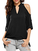 זול חולצה-אחיד צווארון V מידות גדולות חולצה - בגדי ריקוד נשים אפור