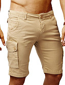 ราคาถูก กางเกงผู้ชาย-สำหรับผู้ชาย พื้นฐาน ขนาดของยุโรป / อเมริกา กางเกงขาสั้น กางเกง - สีพื้น ผ้าขนสัตว์สีธรรมชาติ สีน้ำเงินกรมท่า อาร์มี่ กรีน L XL XXL