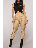 ราคาถูก กางเกงขาสั้น-สำหรับผู้หญิง Street Chic Cargo Pants กางเกง - สีพื้น สีดำ อาร์มี่ กรีน สีกากี M L XL