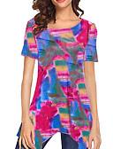 ราคาถูก เสื้อยืดสำหรับสุภาพสตรี-สำหรับผู้หญิง เสื้อเชิร์ต เพรียวบาง รูปเรขาคณิต ทับทิม