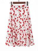 ราคาถูก กระโปรงผู้หญิง-สำหรับผู้หญิง รูปตัว เอ กระโปรง - ลายดอกไม้ ขาว สีดำ ทับทิม L XL XXL