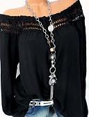 זול חולצה-אחיד סירה מתחת לכתפיים חולצה - בגדי ריקוד נשים שחור