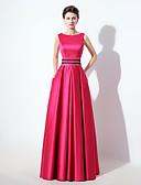 Χαμηλού Κόστους Βραδινά Φορέματα-Γραμμή Α Τετράγωνη Λαιμόκοψη Μακρύ Σατέν Εμπνευσμένο από Βίντατζ / Μινιμαλιστική Χοροεσπερίδα / Επίσημο Βραδινό Φόρεμα 2020 με Χάντρες / Πούλιες