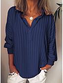 baratos Camisas Femininas-Mulheres Tamanhos Grandes Camisa Social Listrado Colarinho de Camisa Verde