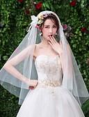 ราคาถูก ม่านสำหรับงานแต่งงาน-ชั้นเดียว ลูกไม้ ผ้าคลุมหน้าชุดแต่งงาน ผ้าคลุมศรีษะสำหรับชุดแต่งงาน กับ ขอบ ลูกไม้ / Tulle