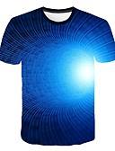 ราคาถูก เสื้อยืดและเสื้อกล้ามผู้ชาย-สำหรับผู้ชาย ขนาดของยุโรป / อเมริกา เสื้อเชิร์ต คอกลม เพรียวบาง 3D สีน้ำเงิน