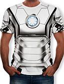 baratos Camisas Masculinas-Homens Camiseta Estampado, Estampa Colorida / 3D / Desenho Animado Decote Redondo Prata