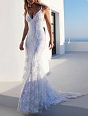 זול שמלות שושבינה-בתולת ים \ חצוצרה רצועות ספגטי שובל סוויפ \ בראש תחרה / טול ערב רישמי שמלה עם שכבות / תחרה משולבת על ידי LAN TING Express