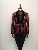 お買い得  スーツ-カーマイン パターン柄 スタンダードフィット コットン / ポリエステル スーツ - ショールカラー シングルブレスト 一つボタン