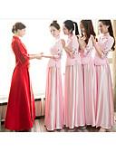 ราคาถูก Special Occasion Dresses-A-line คอตั้ง ลากพื้น ซาติน เพื่อนเจ้าสาวชุด กับ ลายปัก โดย LAN TING Express