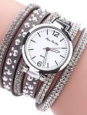ราคาถูก นาฬิกาข้อมือ-สำหรับผู้หญิง นาฬิกาสร้อยข้อมือ นาฬิกาอิเล็กทรอนิกส์ (Quartz) สไตล์ Cubic Zirconia PU Leather สีขาว / ฟ้า / แดง นาฬิกาใส่ลำลอง เลียนแบบเพชร ระบบอนาล็อก ไม่เป็นทางการ แฟชั่น - สีเทา สีม่วง Peach