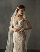 ราคาถูก ม่านสำหรับงานแต่งงาน-ชั้นเดียว สง่า&หรูหรา ผ้าคลุมหน้าชุดแต่งงาน ผ้าคลุมหน้าในโบสถ์ กับ ไข่มุกเทียม Tulle
