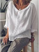ราคาถูก เสื้อเชิ้ตสำหรับสุภาพสตรี-สำหรับผู้หญิง ขนาดพิเศษ เชิร์ต คอเสื้อเชิ้ต หลวม สีพื้น ขาว