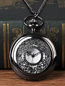 ราคาถูก นาฬิกาพก-สำหรับผู้ชาย นาฬิกาแบบพกพา นาฬิกาอิเล็กทรอนิกส์ (Quartz) ดำ แกะสลักกลวง นาฬิกาใส่ลำลอง ปุ่มหมุนขนาดใหญ่ ระบบอนาล็อก แฟชั่น Skeleton - สีดำ
