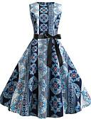 billige Jumpsuits og sparkebukser til damer-Dame Gatemote Elegant Swing Kjole - Geometrisk, Trykt mønster Knelang