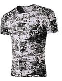 ราคาถูก เสื้อยืดและเสื้อกล้ามผู้ชาย-สำหรับผู้ชาย เสื้อเชิร์ต คอกลม ลายตัวอักษร สีดำ