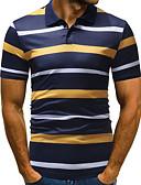 ราคาถูก เสื้อโปโลสำหรับผู้ชาย-สำหรับผู้ชาย ขนาดของยุโรป / อเมริกา Polo คอเสื้อเชิ้ต ลายแถบ ใบไม้สีเขียวที่มีสามแฉก
