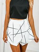 ราคาถูก กางเกงผู้หญิง-สำหรับผู้หญิง พื้นฐาน เพรียวบาง กางเกงขาสั้น กางเกง - เลขาคณิต ขาว M L XL