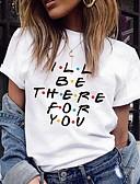 billige T-skjorter til damer-T-skjorte Dame - Bokstaver, Trykt mønster Hvit