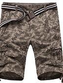 ราคาถูก กางเกงผู้ชาย-สำหรับผู้ชาย พื้นฐาน เพรียวบาง กางเกงขาสั้น กางเกง - ลายพิมพ์ สีเทา อาร์มี่ กรีน สีกากี XL XXL XXXL