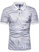 ราคาถูก เสื้อโปโลสำหรับผู้ชาย-สำหรับผู้ชาย Polo ลายพิมพ์ คอเสื้อเชิ้ต เพรียวบาง ลายแถบ สีน้ำเงิน