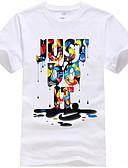 baratos Camisetas & Regatas Masculinas-Homens Camiseta Gráfico / Letra Decote Redondo Branco