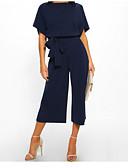 ราคาถูก จั๊มสูทและเสื้อคลุมสำหรับผู้หญิง-สำหรับผู้หญิง สีดำ สีฟ้า สีน้ำเงินกรมท่า ขากว้าง ชุด Jumpsuits Onesie, สีพื้น ผ้าชีฟอง S M L ฤดูใบไม้ผลิ ฤดูร้อน ตก / ฤดูหนาว