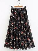 ราคาถูก กระโปรงผู้หญิง-สำหรับผู้หญิง ขนาดพิเศษ Swing เก๋ไก๋และทันสมัย กระโปรง - ลายดอกไม้ สีดำ XL XXL XXXL