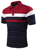 ราคาถูก เสื้อโปโลสำหรับผู้ชาย-สำหรับผู้ชาย Polo ลายต่อ คอเสื้อเชิ้ต ลายบล็อคสี เทาอ่อน