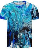 Χαμηλού Κόστους Ανδρικά μπλουζάκια και φανελάκια-Ανδρικά Μεγάλα Μεγέθη T-shirt Βαμβάκι Στρογγυλή Λαιμόκοψη Στάμπα Μπλε Απαλό