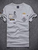 Χαμηλού Κόστους Ανδρικά μπλουζάκια και φανελάκια-Ανδρικά T-shirt Γραφική / Γράμμα Στρογγυλή Λαιμόκοψη Λεπτό Λευκό