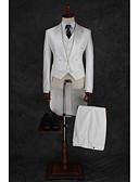 billige Dresser-Melkehvit Stripet / Ensfarget Standard Bomull / Polyester Dress - Spiss Enkelt Brystet Fler-knapp / drakter