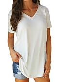 billige Tights til damer-Bomull V-hals Store størrelser T-skjorte Dame - Ensfarget Fuksia