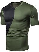 Χαμηλού Κόστους Αντρικά Πόλο-Ανδρικά Μέγεθος EU / US T-shirt Αθλητικά Βασικό Μονόχρωμο / Συνδυασμός Χρωμάτων Λαιμόκοψη V Patchwork Μαύρο / Κοντομάνικο