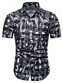 """זול חולצות לגברים-פרחוני / קולור בלוק סגנון רחוב / אלגנטית האיחוד האירופי / ארה""""ב גודל חולצה - בגדי ריקוד גברים דפוס שחור / שרוולים קצרים"""