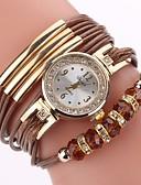 ราคาถูก นาฬิกาควอตซ์-สำหรับผู้หญิง นาฬิกาสร้อยข้อมือ นาฬิกาอิเล็กทรอนิกส์ (Quartz) สไตล์ ถัก Cubic Zirconia PU Leather ดำ / ฟ้า / แดง นาฬิกาใส่ลำลอง เลียนแบบเพชร ระบบอนาล็อก ไม่เป็นทางการ แฟชั่น - ทับทิม สีเทา Peach