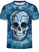 ราคาถูก เสื้อยืดและเสื้อกล้ามผู้ชาย-สำหรับผู้ชาย ขนาดพิเศษ เสื้อเชิร์ต ฝ้าย ลายพิมพ์ คอกลม 3D / กระโหลก สีน้ำเงิน