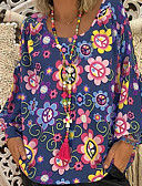 ราคาถูก เสื้อเอวลอยสำหรับผู้หญิง-สำหรับผู้หญิง ขนาดพิเศษ เสื้อสตรี คอวี ลายดอกไม้ สีดำ