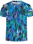 ราคาถูก เสื้อยืดและเสื้อกล้ามผู้ชาย-สำหรับผู้ชาย ขนาดพิเศษ เสื้อเชิร์ต ฝ้าย ลายพิมพ์ คอกลม 3D สีน้ำเงิน